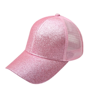 FH068 Half Solid Glitter & Half Mesh Baseball Cap, Lan